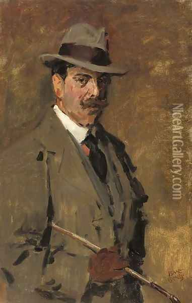 Portrait of a gentleman holding a riding-crop Oil Painting - Isaac Israels