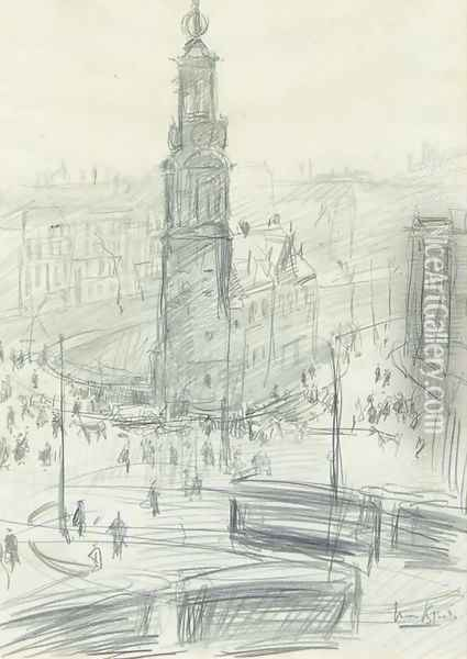 A bird's-eye view of the Munttoren, Amsterdam Oil Painting - Isaac Israels