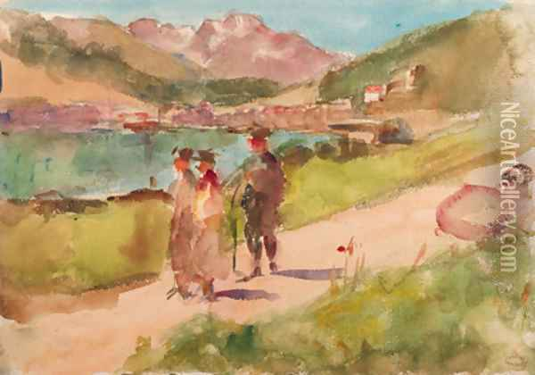 Going for a walk by a mountain lake near Bern, Switzerland Oil Painting - Isaac Israels