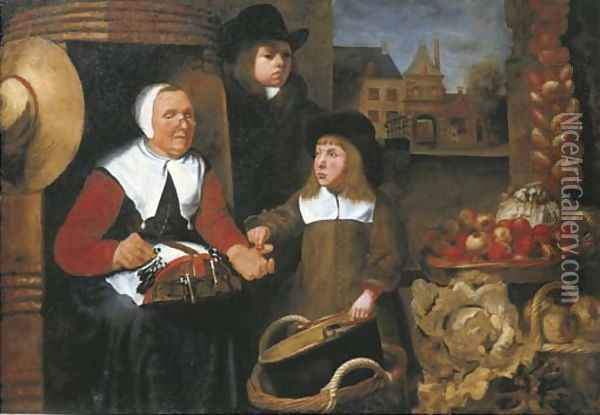 A market scene with two boys by a vegetable seller making lace, the St. Jorispoort in Dordrecht beyond Oil Painting - Johannes Vollevens I