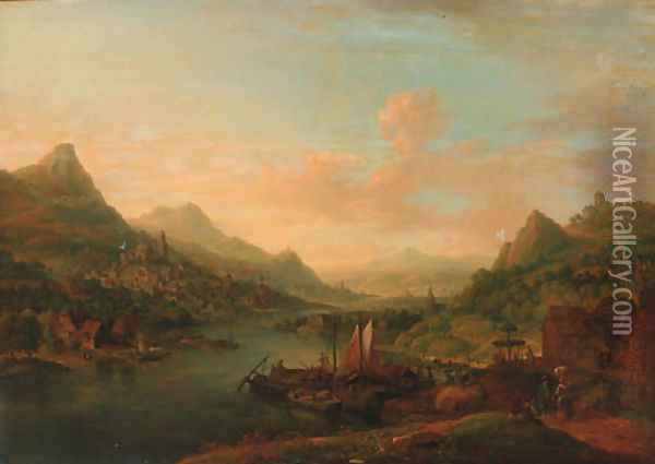 An extensive Rhenish landscape, with boats moored by a jetty Oil Painting - Christian Georg Schuttz II