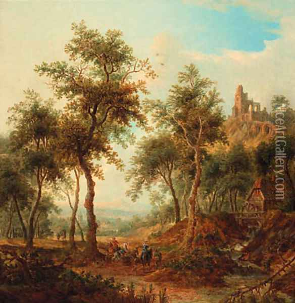 A wooded landscape with a hunting party by a stream, a ruined castle on a hill beyond Oil Painting - Christian Georg Schuttz II