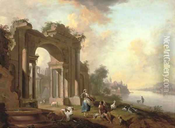 An architectural 'capriccio' with a shepherd and a washerwoman by a river, a town beyond Oil Painting - Christian Georg Schuttz II