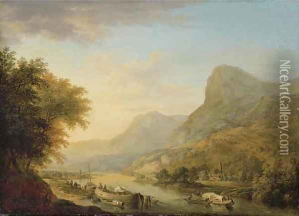 A mountainous river landscape with a town beyond Oil Painting - Christian Georg Schuttz II