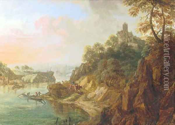 A Rhenish landscape with herdsmen on a track near a castle Oil Painting - Christian Georg Schuttz II
