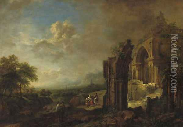 A wooded river landscape with travellers by a ruined gothic church Oil Painting - Christian Georg Schuttz II