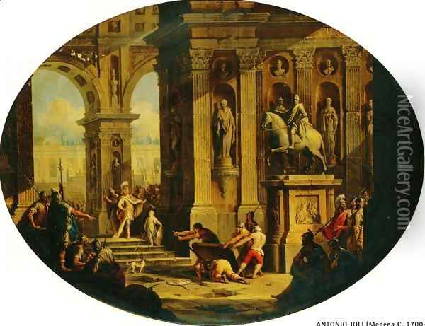 A Capriccio of a Classical Palace with Alexander at the Tomb of Achilles Oil Painting - Antonio Joli