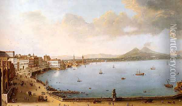 View Of Naples From The Strada Di Santa Lucia Oil Painting - Antonio Joli