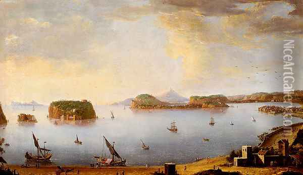 View Of The Bay Of Pozzuoli With The Port Of Baia, The Islands Of Nisida, Procida, Ischia And Capri Oil Painting - Antonio Joli