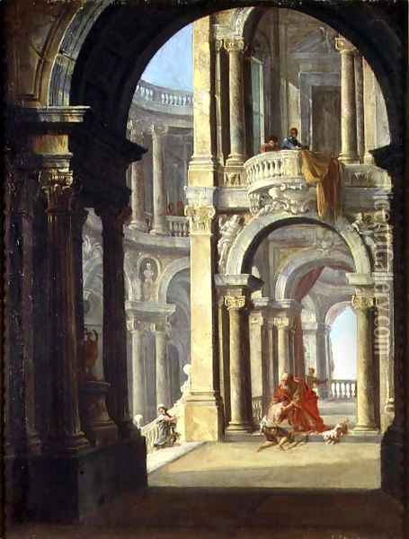 A Capriccio of a Baroque Palace with the Return of the Prodigal Son Oil Painting - Antonio Joli