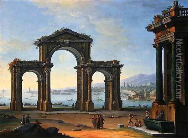 Harbour Scene with Triumphal Arch Oil Painting - Antonio Joli