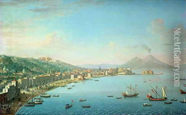 Naples from the Bay with Mt Vesuvius in the Background Oil Painting - Antonio Joli