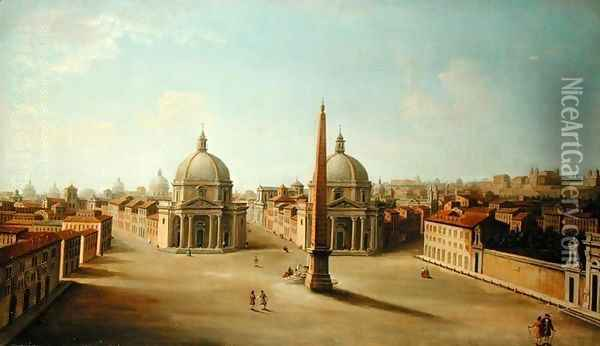 A View of the Piazza del Popolo Oil Painting - Antonio Joli