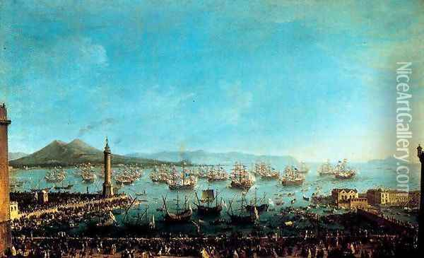 Arrival of Charles III in Naples Oil Painting - Antonio Joli