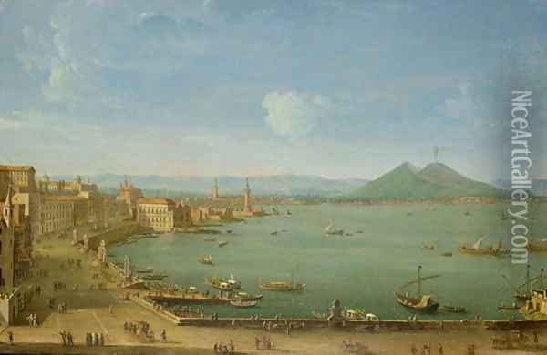 View of Naples from the Bay with Mt Vesuvius Oil Painting - Antonio Joli