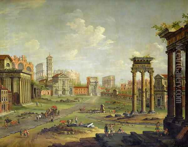 The Campo Vaccino Rome Looking Towards St Francesca Romana and the Arch of Titus from the Temple of Saturn Oil Painting - Antonio Joli