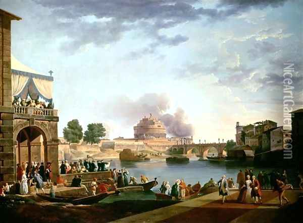 The Election of the Pope with the Castel St Angelo Rome in the background Oil Painting - Antonio Joli