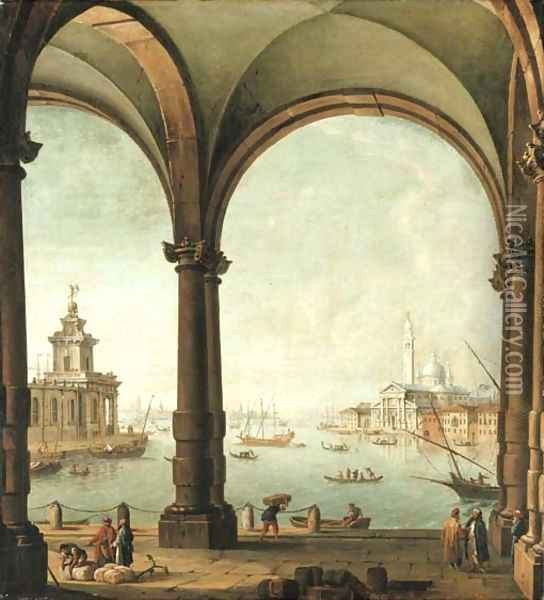 A capriccio of the Bacino di San Marco, Venice, from the entrance to the Giudecca, with the Punta della Dogana and San Giorgio Maggiore Oil Painting - Antonio Joli