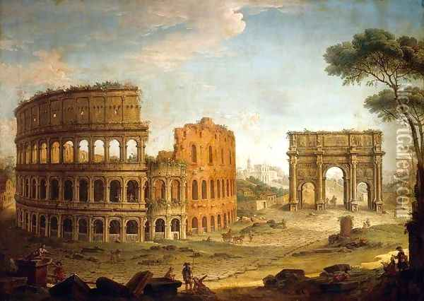 Rome View of the Colosseum and The Arch of Constantine 2 Oil Painting - Antonio Joli