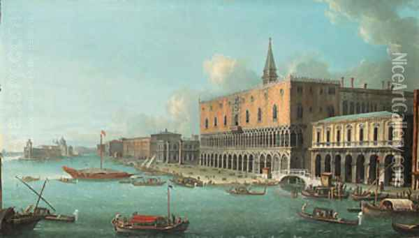 The Bacino di San Marco, Venice, looking west with the Doge's Palace, the entrance to the Grand Canal and Santa Maria della Salute beyond Oil Painting - Antonio Joli