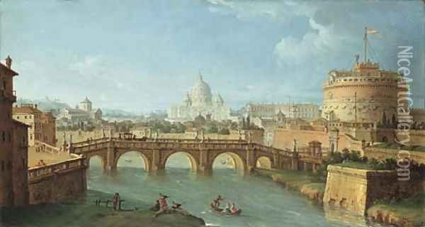 The Tiber, Rome, looking downstream with the Castel and Ponte Sant'Angelo, Saint Peter's and the Vatican, Santo Spirito in Sassia Oil Painting - Antonio Joli