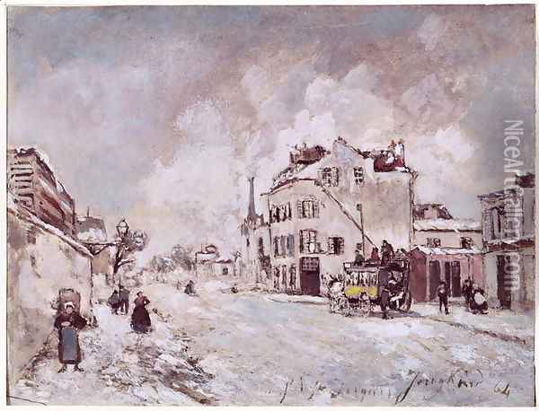 View of Faubourg Saint-Jacques Oil Painting - Johan Barthold Jongkind