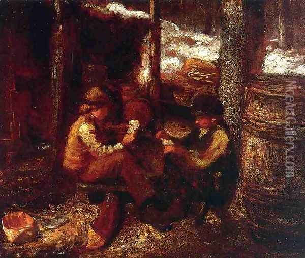 At the Maple Sugar Camp Oil Painting - Eastman Johnson