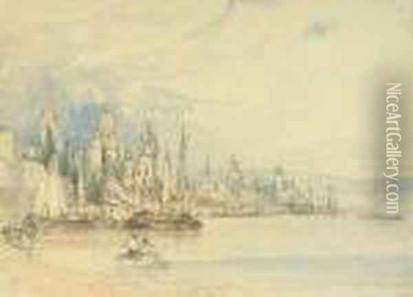 Mayence From The Rhine Oil Painting - William Callow