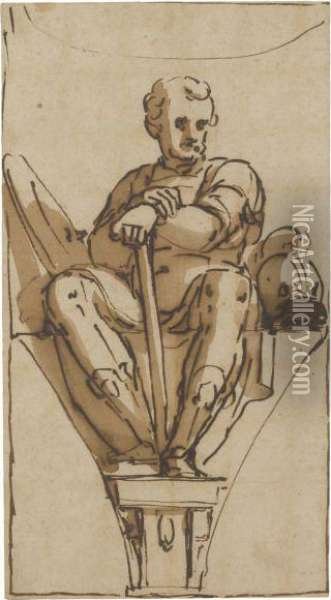 Relmusto Lercari, As A Warrior, Seated On A Plinth, In Apendentive Oil Painting - Luca Cambiaso