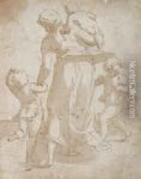 A Mother And Three Children Oil Painting - Luca Cambiaso