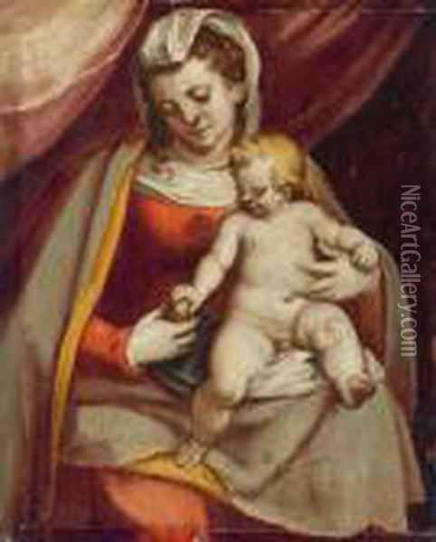 Madonna Col Bambino Oil Painting - Luca Cambiaso