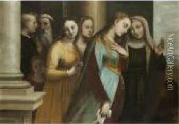 Mary Magdalene Renouncing The Vanities Of The World Oil Painting - Luca Cambiaso