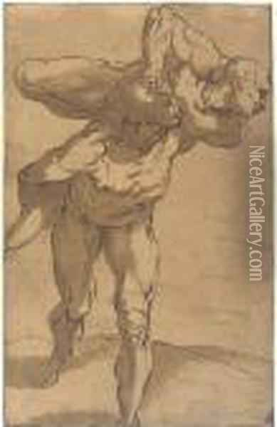 A Man Carrying Another On His Shoulders Oil Painting - Luca Cambiaso