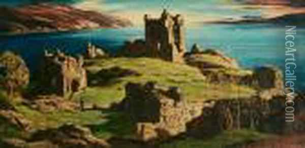 Castle Urquhart, Loch Ness Oil Painting - David Young Cameron