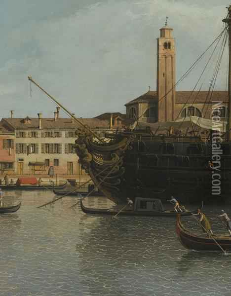 Venice, A View Of The Churches Of The Redentore Oil Painting - (Giovanni Antonio Canal) Canaletto
