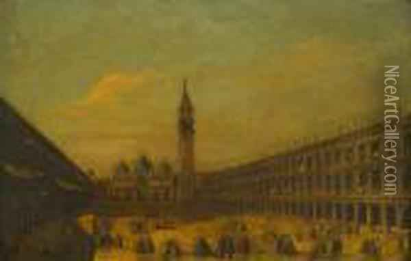 Piazza San Marco Looking East Towards Basilica And The Campanile Oil Painting - (Giovanni Antonio Canal) Canaletto