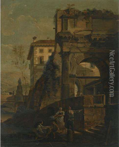 An Architectural Capriccio With Figures Loading A Boat Beside Anarch Oil Painting - (Giovanni Antonio Canal) Canaletto