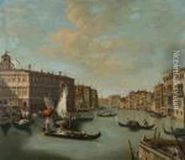 View Of The Grand Canal, Venice Oil Painting - (Giovanni Antonio Canal) Canaletto