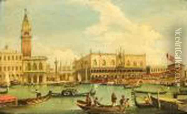 The Entrance To The Grand Canal Oil Painting - (Giovanni Antonio Canal) Canaletto
