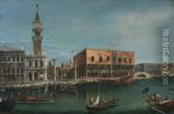 Grand Canal, Venice, With A View Of The Doge's Palace Oil Painting - (Giovanni Antonio Canal) Canaletto