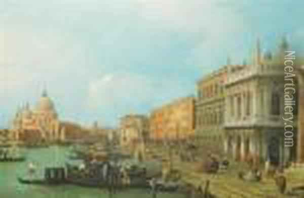 A View Of Venice Oil Painting - (Giovanni Antonio Canal) Canaletto