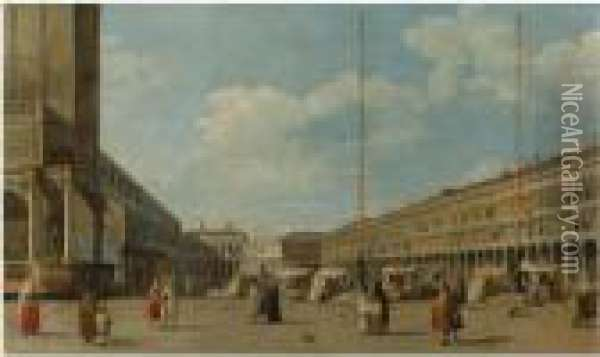 Venice, A View Of Piazza San Marco, Looking West From South Of The Central Line Oil Painting - (Giovanni Antonio Canal) Canaletto