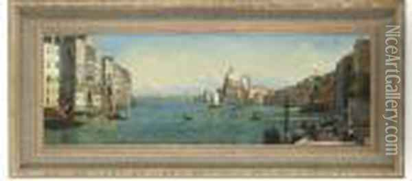 A View Across The Grand Canal Towards Santa Maria Dellasalute Oil Painting - (Giovanni Antonio Canal) Canaletto