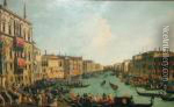 View Of The Grand Canal, Venice;  Oiliograph, 83x135cm: Together With Two Other Prints And Engravings  After Various Hands Oil Painting - (Giovanni Antonio Canal) Canaletto