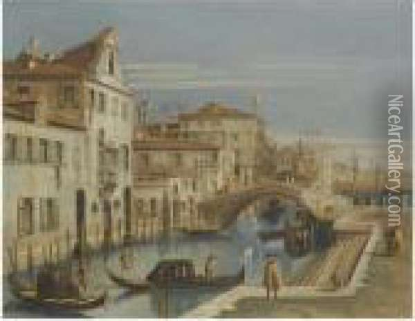 Venice, A View Of A Canal With Gondoliers Oil Painting - (Giovanni Antonio Canal) Canaletto
