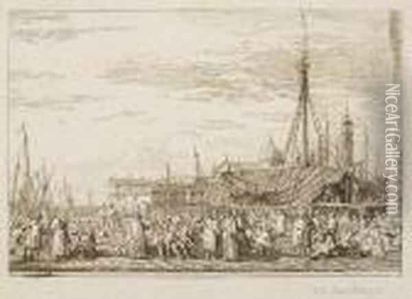 The Market On The Molo Oil Painting - (Giovanni Antonio Canal) Canaletto