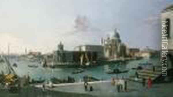 Looking South From The Molo With A View Of Santa Maria Della Salute Oil Painting - (Giovanni Antonio Canal) Canaletto