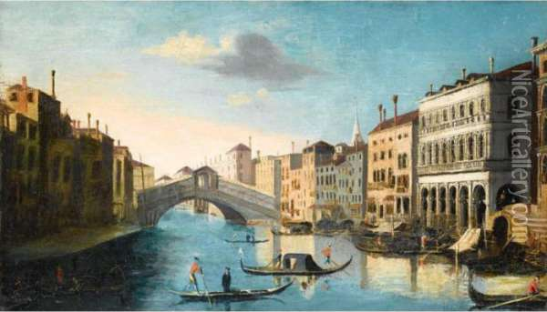 Venice, A View Of The Grand Canal With The Rialto Bridge Oil Painting - (Giovanni Antonio Canal) Canaletto