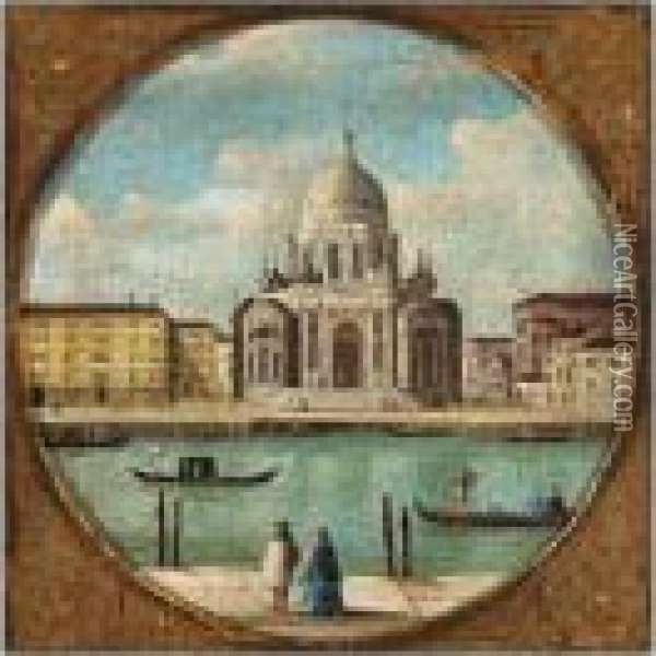 A Capriccio Of A Venetian Canal Oil Painting - (Giovanni Antonio Canal) Canaletto