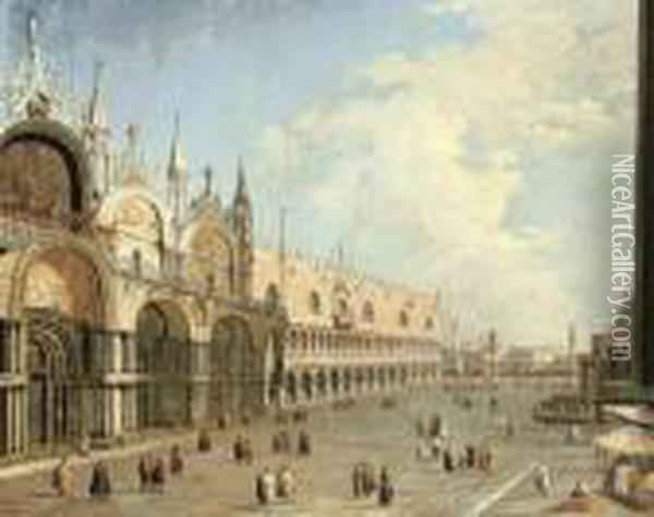 The Piazza San Marco And The Doge's Palace, Venice Oil Painting - (Giovanni Antonio Canal) Canaletto